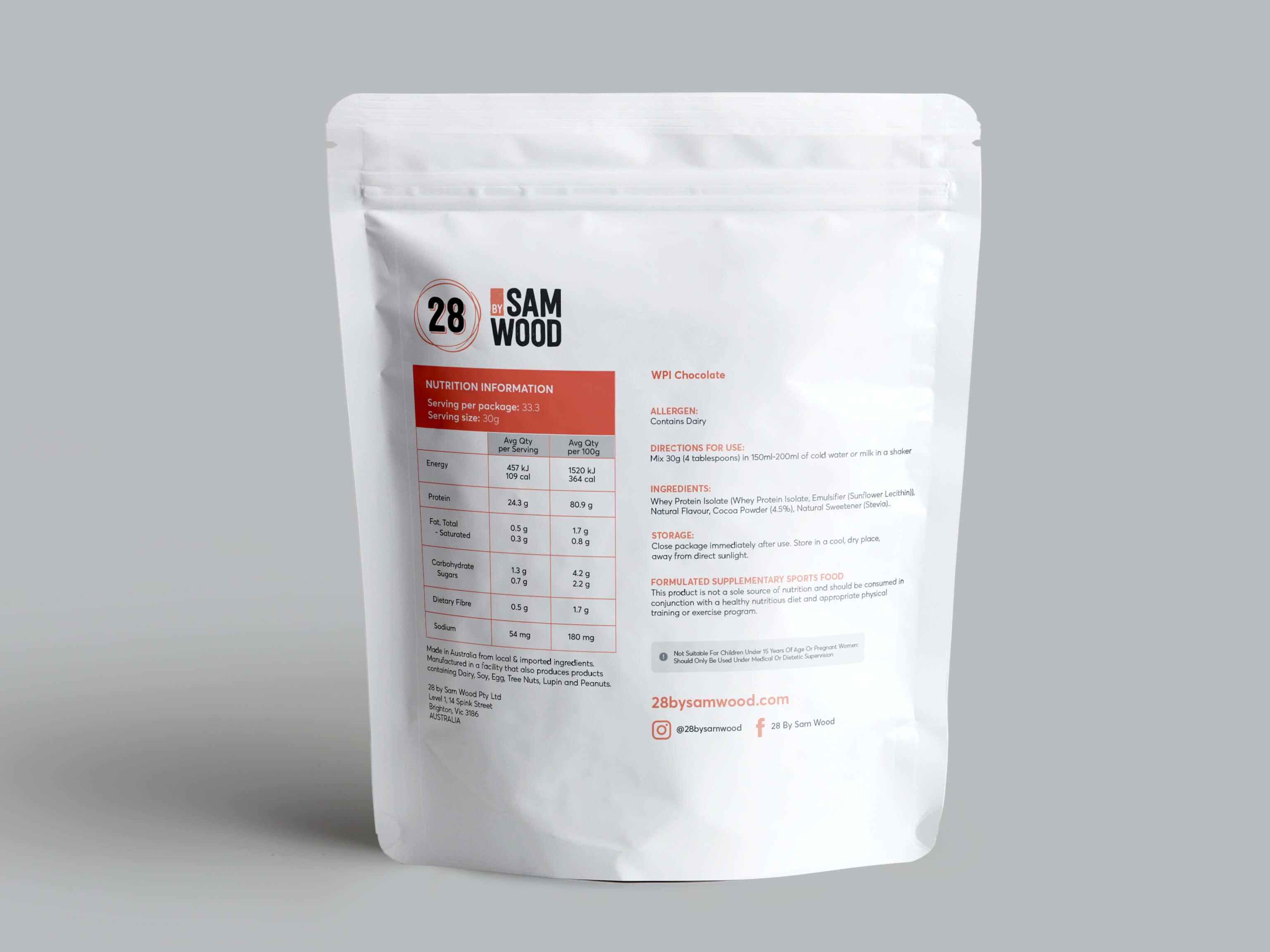 chocolate whey isolate protein nutrition panel
